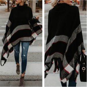 Sweaters - SALE✨LAST1✨5⭐️NEW BLACK PLAID PONCHO WRAP CAPE TOP
